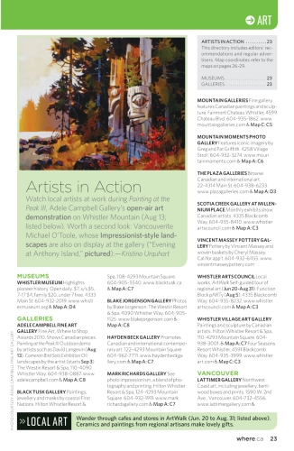 "Where Whistler Summer 2011, ""Artists in Action"""