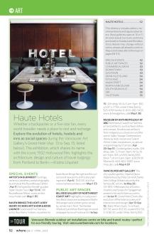 "Where Vancouver Apr 2013, ""Haute Hotels"""